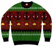Licensed Marvel Deadpool Mask Symbol Ugly Christmas Sweater Adult Sizes S-2xl