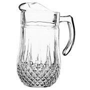 Clear Glass Pitcher 50.5oz Lead Free Drink Ware Water Jug Cold Beverage Crystal
