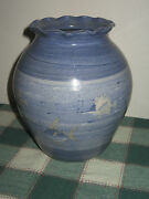 AS IS Blue Jamaican Art Pottery Vase with Fish Signed Lloyd Ceramics