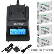 Kastar 4 Battery And Fast Charger Kit For Canon Nb-12l Nb-12lh Nb12l Nb12lh Cb-2lg