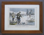 Vintage Currier And Ives Lithograph Winter Sports -- Pickerel Fishing C.1872