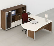 Concept 3 120 Modern L-shape Executive Office Desk Shell With Storage Module