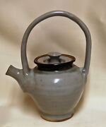 Studio Art Pottery Stoneware Ceramic Blue Tea Pot Artist Signed