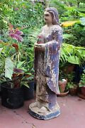 Antique Carved 40 Inches Wooden Statue Of Spanish Saint Andndashsantos 1700-1850