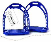 Jinn Stirrups Horse Riding Light And Durable Aluminium With 44 Crystals Blue Color