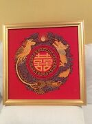 """Cross Stitch Framed Handmade Completed Finished Happy Family-龙凤呈祥"""" Picture New"""