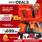 Hilti Te 4-a18 Cpc Cordless Hammer Drill, Preowned Loaded W/ Bits And Chisels