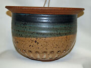 Studio Art Pottery Stoneware Lower Half Reticulated Bowl Vase Planter Flower Pot