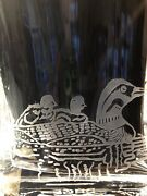 Crystal Etched Loons With Cat Tails Pocket Vase