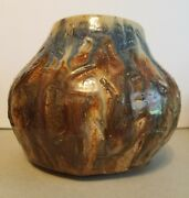 Native American Pottery Signed Glazed Clay Vase Pot Mid Century HandMade