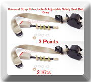 2 Kits Universal Strap Retractable And Adjustable Safety Seat Belt Beige 3 Point