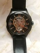 Philip Stein Prestige Round Oversized Automatic With Black Leather Strap