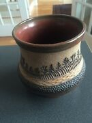 Vintage Art Pottery Vase Signed Lederer Forest Valley Scene, Excellent Shape!