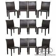 Maria Yee Set Of 12 Brown Leather Dining Chairs