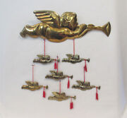 Set Of 7 Vintage 1950s 60s Brass Trumpeting Angel Christmas Tree Ornaments