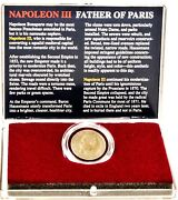 Napoleon Iii Father Of Paris Bronze 5 Centimes Coin And Clear Box With Story Card