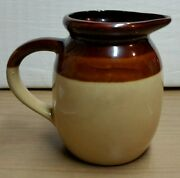Vintage Clay Art Pottery Pitcher-Brown & Tan Bands