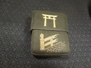 Vintage Asia Chinese Japan Black Silk And Gold Hand Stitched Cigarette Case