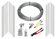 Full Deck Cable Rail Kit - 1000ft Cable, 1/8 End Fittings, And Tools Wood Post