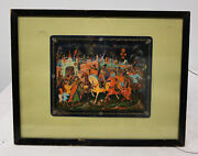 Antique Vintage Russian Lacquer Painting Framed Signed Palekh Panel Print