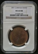 1891 Great Britain - One Penny - Bronze - Victoria - Ms64 Rb - Beautiful Lustre