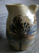 Sevierville Pottery Vase Tennessee Trees Studio Hand Crafted Swirls Blue