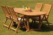 Ashley A-grade Teak 5pc Dining 94 Masoval Table Reclining Folding Arm Chair Set