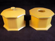 Antique Tusculor Celluloid Vanity Set Of 2 Early 1900's Powder And Hair Boxes
