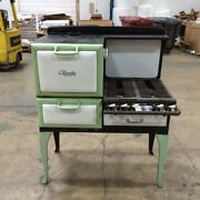 Antique Gas Stove Made By Olivette Green And White