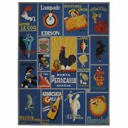 Safavieh Chelsea Vintage Poster Rooster Blue Wool Area Rug 7and039 9 X 9and039 9