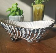 Vintage Art Deco California Pottery Planter White Black and Gold shell speckled