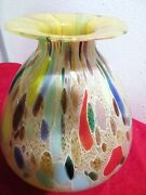 Art Vase Multi Color Murano Italian Wide Base LARGE Hand Made MID CENTURY