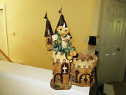 POTTERY HANDMADE CLAY SCULPTURE W/ DRAGON IN A CASTLE FLOWER POT SIGNED BY HINDT