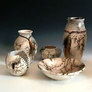 5 signed (by the artist) piece set of Raku Pottery (Horsehair )