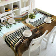 Wooden Stools 3d Tablecloth Table Cover Cloth Rectangle Wedding Party Banquet