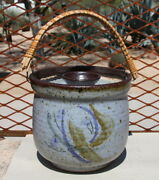 VINTAGE STUDIO POTTERY NAN AND JAMES MCKINNELL COVERED BASKET 6 INCHES DIAMETER