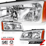 For 03-06 Chevy Silverado Truck 1500/2500 Crystal Clear Headlights Lamp W/ Amber