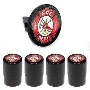 Tow Hitch Cover Insert Plug For Truck And Suv + Valve Caps - Firefighter Fire Dept