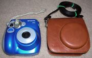 Blue Polaroid Pic 300 Instant Film Picture Print Camera And Leather Carrying Case