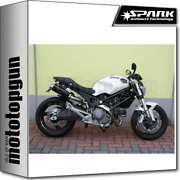 Spark 2 Exhausts Round Racing Dark Style High Ducati Monster 1100 S 2009 09