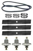 John Deere 48 D140 100 Series Mower Deck Parts Kit Spindles Blades Belt Idlers
