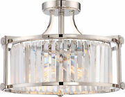 Nuvo Krys 3 Light Crystal Semi Flush Fixture With 60w Vintage Lamps Included