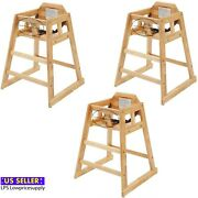 3 Pack Ready-to-assemble Restaurant Wood High Chair With Natural Finish