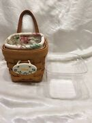 Longaberger New Chives Booking Basket Combo Protector Botanical Fabric Liner Ti