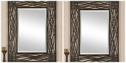 Two 42 Aged Brown Forged Metal Black Accents Beveled Wall Vanity Mirror Western