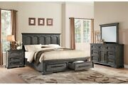 4 Pc Rustic Weathered Acacia Wood Queen Footboard Storage Bed Ns Dresser Set