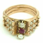 Ring Antique Bourbon Gold 12kt With Pearls And Ruby Natural Del '800 Italian