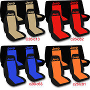 1976-2020 Jeep Wrangler Two Tone Seat Covers Canvas Front And Rear Choose Color