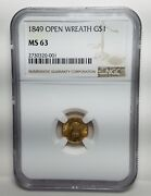 1849 1 Liberty Gold Open Wreath Ms-63 Ngc-free Usa Shipping