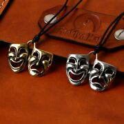 Drama Theater Masks Silver Pewter Gold Brass Necklace Pendant Jewelry